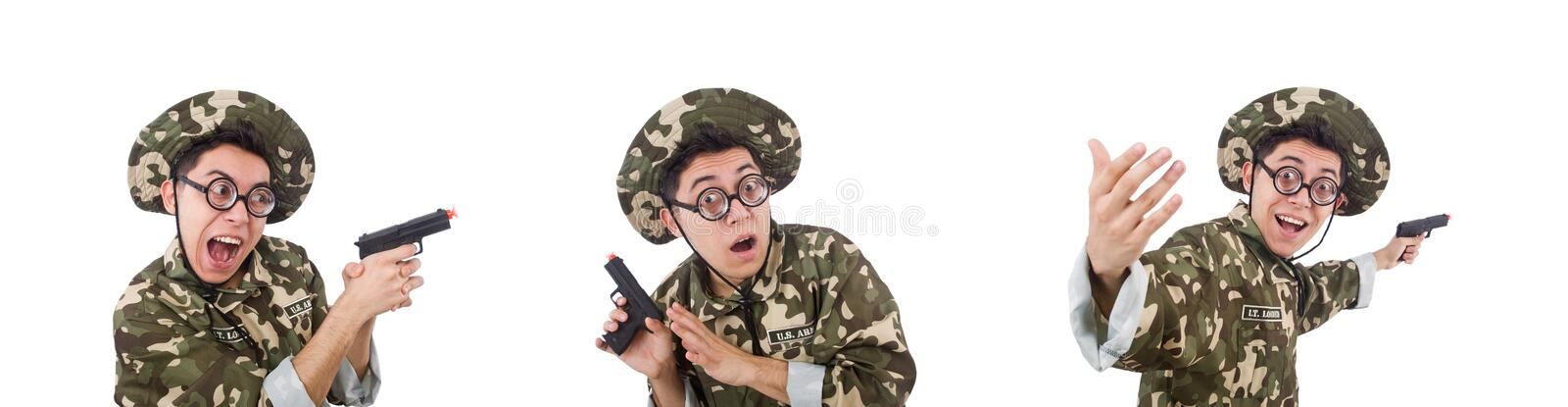Funny soldier isolated on the white. The funny soldier isolated on the white stock photos