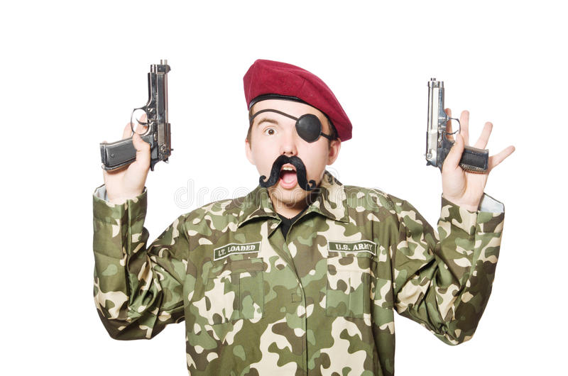 Funny soldier in military. Concept stock images