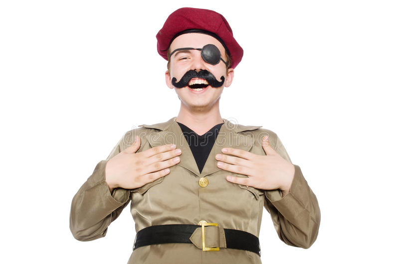 Funny soldier in military. Concept royalty free stock image