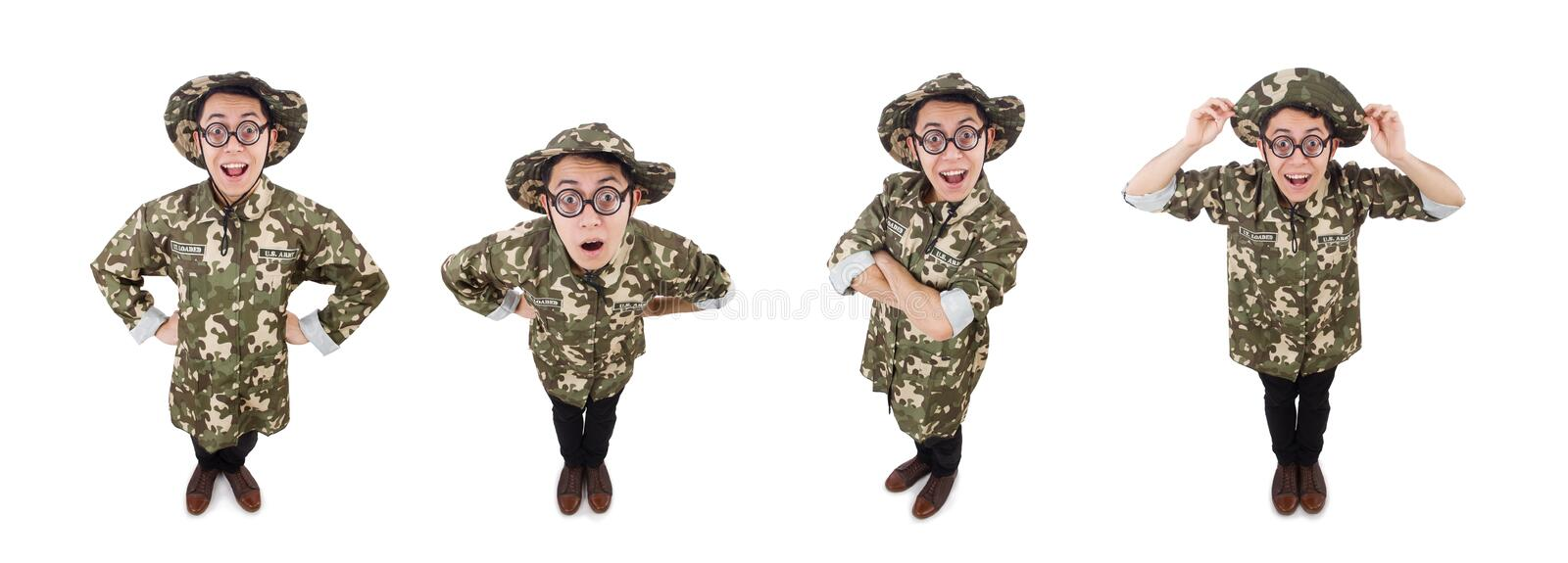 Funny soldier in military concept stock photos