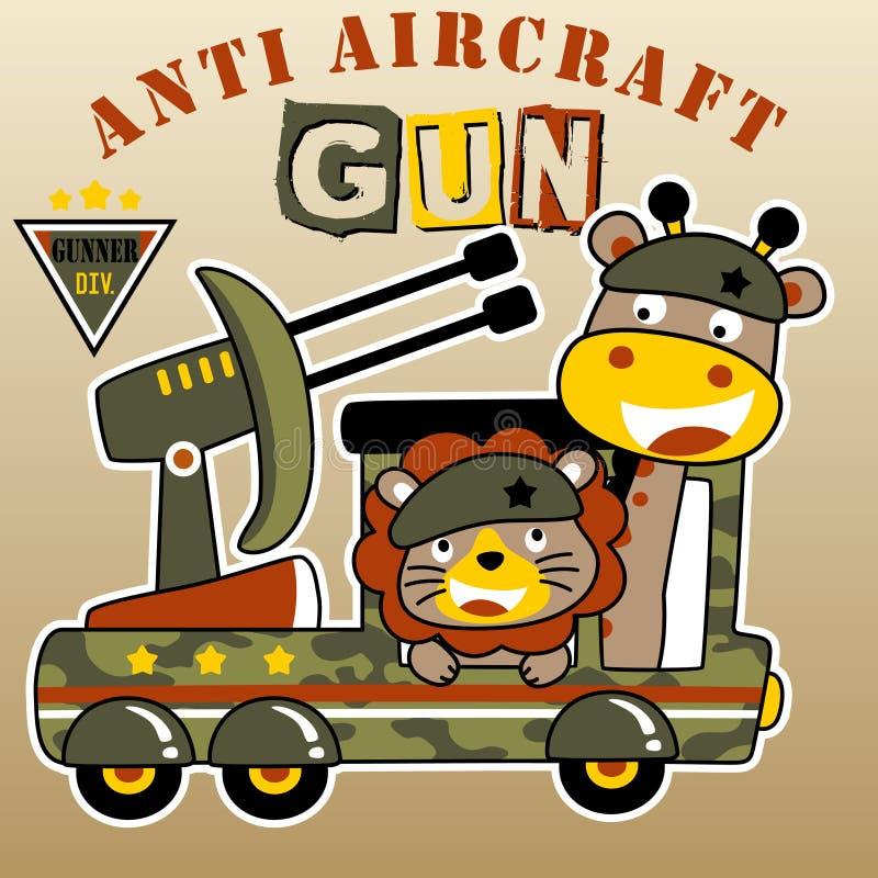 Animals soldier cartoon vector stock illustration