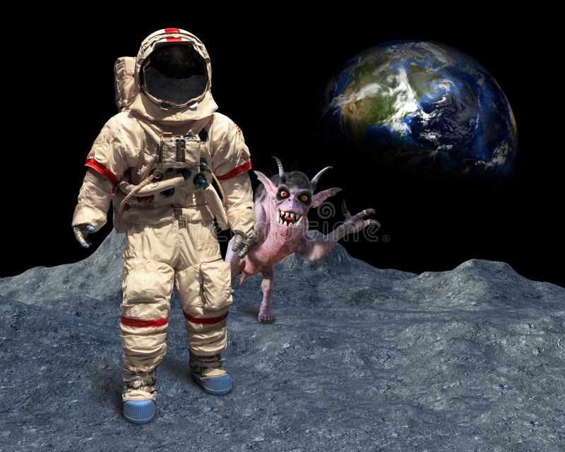 Funny Astronaut, Space Alien, Photobomb, Moon Landing stock photography