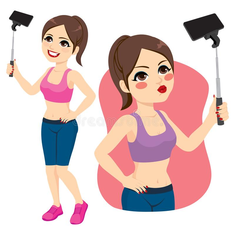 Sport Girl Selfie stock illustration