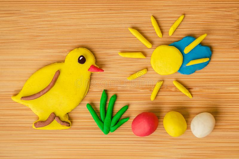 Funny spring Easter image made of plasticine royalty free stock images