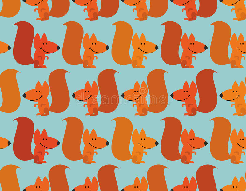 Funny squirrel background. Cute redhead small animal. Rodent fro royalty free illustration