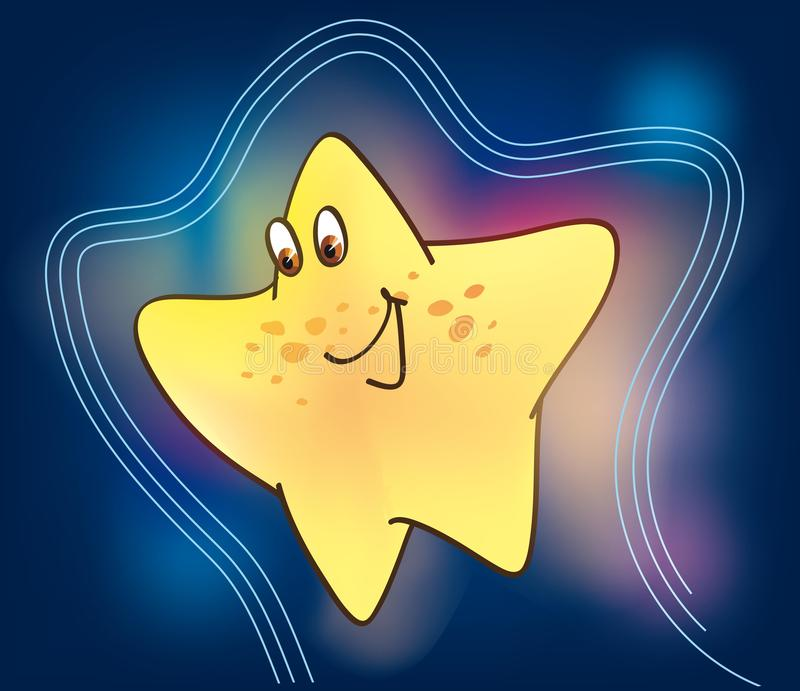 Funny star. Hilarious character in the form of a pentagonal yellow stars on a beautiful background stock illustration
