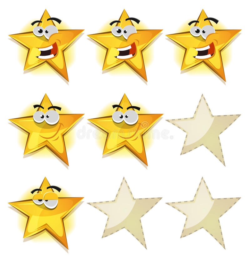 Funny Stars Icons For Ui Game Score stock illustration