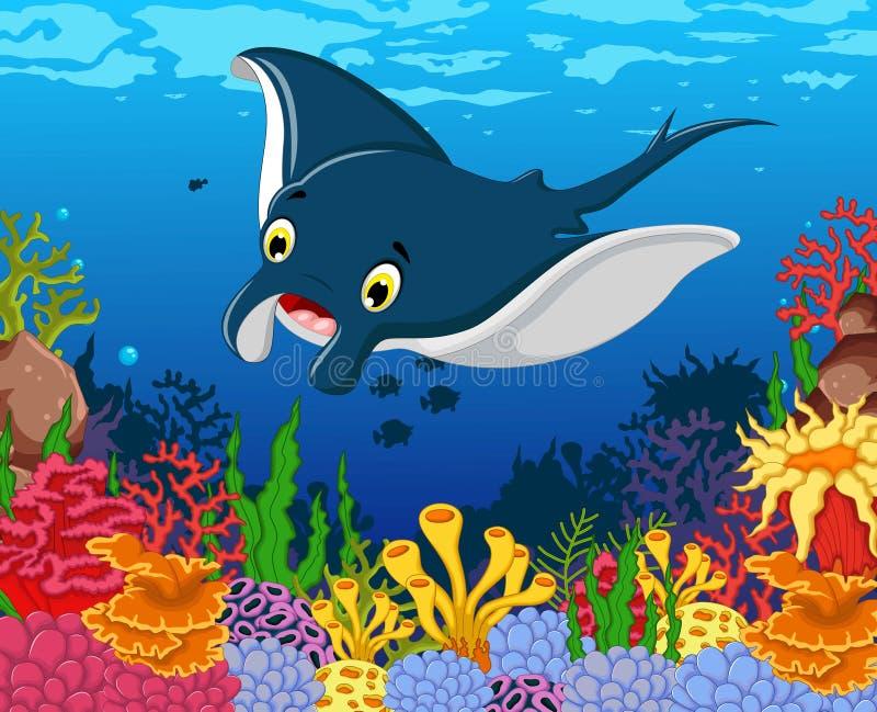 Funny stingray cartoon with beauty sea life background. Illustration of funny stingray cartoon with beauty sea life background stock illustration