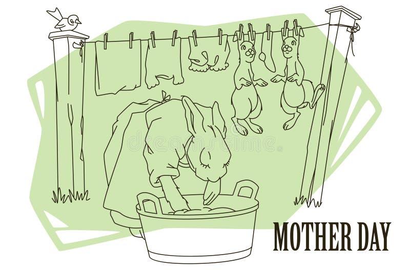 Funny stock illustration. Mother rabbit washes clothes and children's rabbits stock illustration