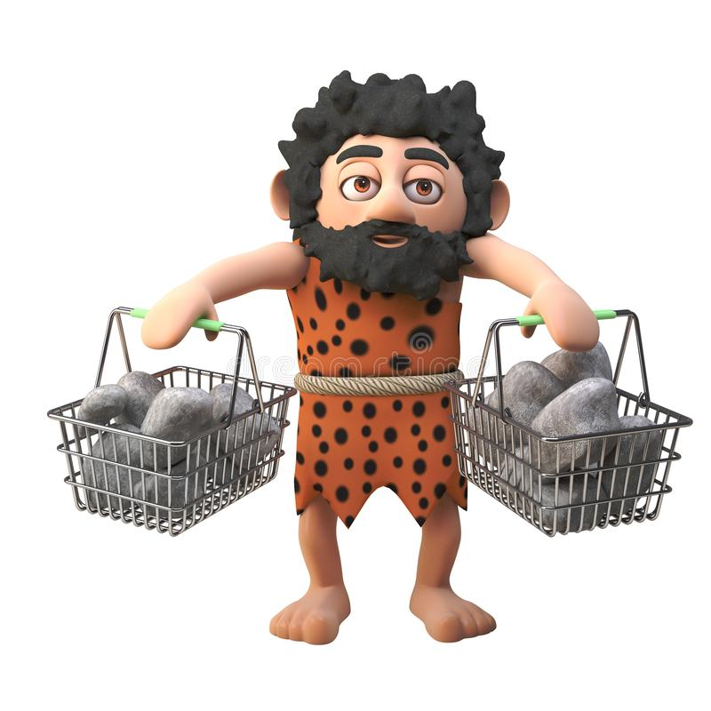 Funny stone age caveman character in 3d carrying rocks and stones in his shopping baskets, 3d illustration. Render royalty free illustration