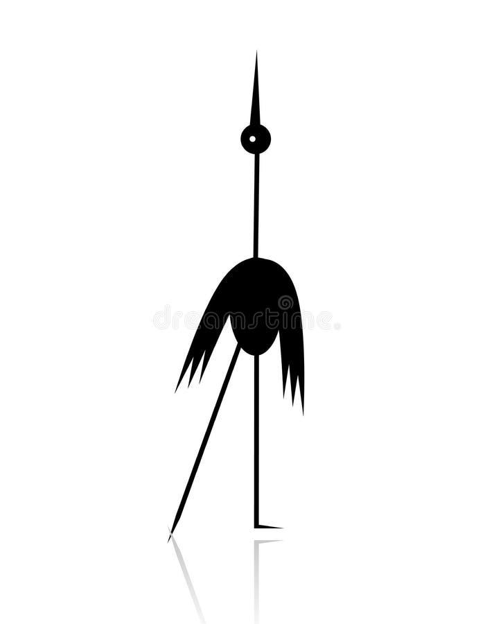 Download Funny Stork Black Silhouette Stock Illustration - Image: 22098334