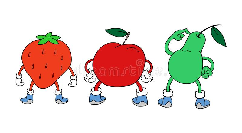 Funny strawberry, apple and pear in back position royalty free illustration