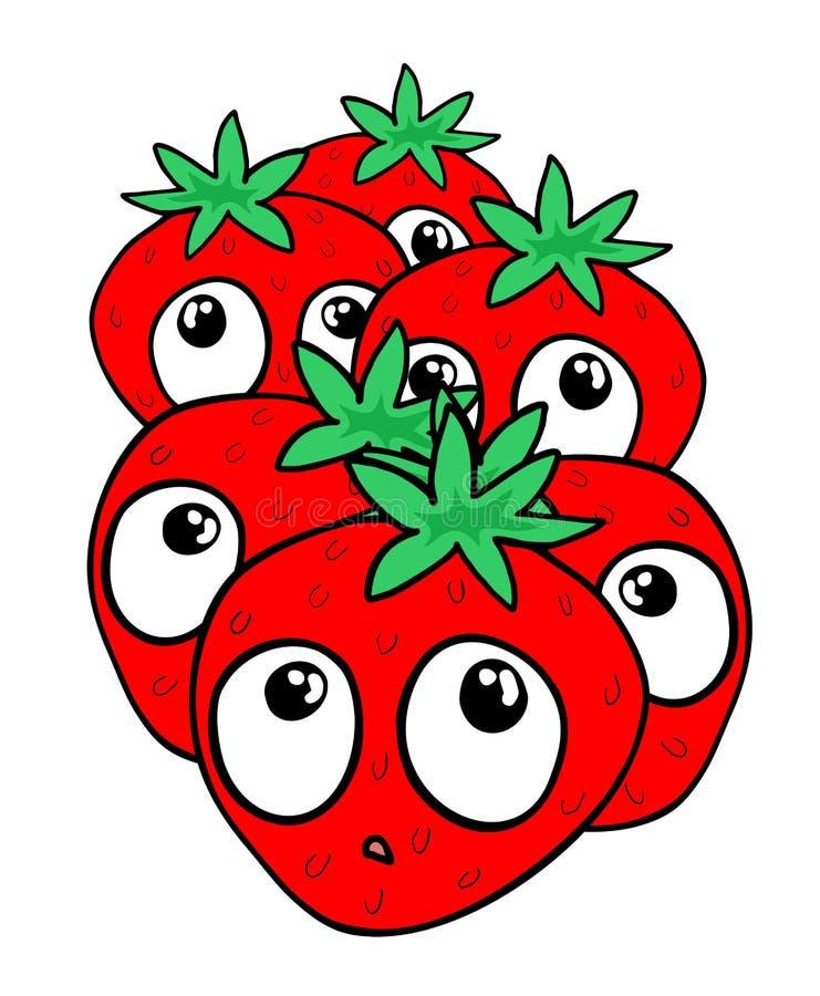 Funny strawberry draw royalty free illustration