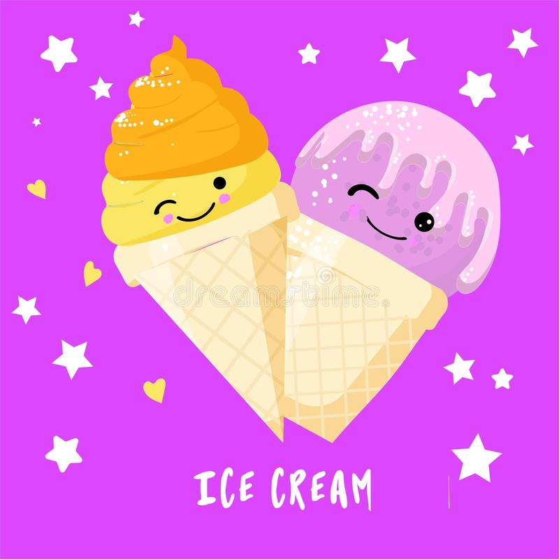 Funny strawberry and lemon ice cream character in waffle cone with smiling face, cartoon style vector illustration isolated on vector illustration