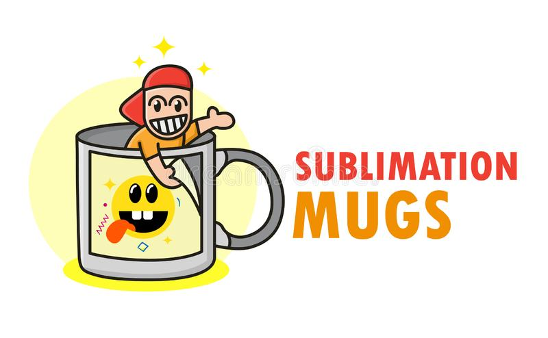 Funny sublimation mugs logo with cute funny kid in cup. Image changing coffee mug template. For typography, print, corporate. Identity, workshop, branding royalty free illustration