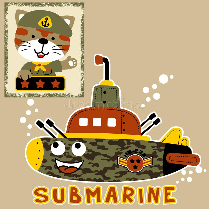 Military submarine cartoon with funny soldier vector illustration