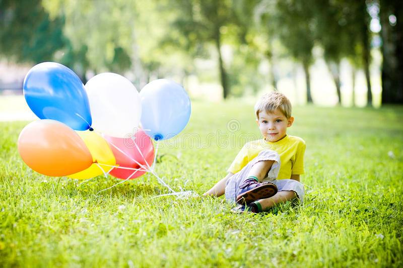 Download Funny summer stock image. Image of blond, balloons, colors - 13613849