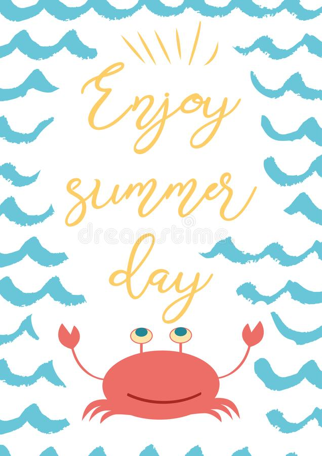 Nice Download Funny Summer Vacation Phrase Enjoy Summer Day On Blue Wave Sea  Backround Crab Stock Illustration