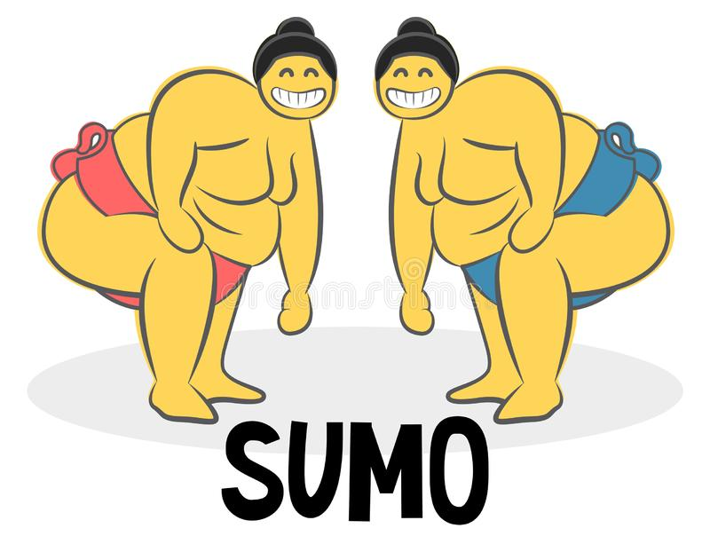 Funny Sumo wrestler Logo. Japan culture abstract design template. Hand drawn cartoon doodle vector illustration. royalty free illustration