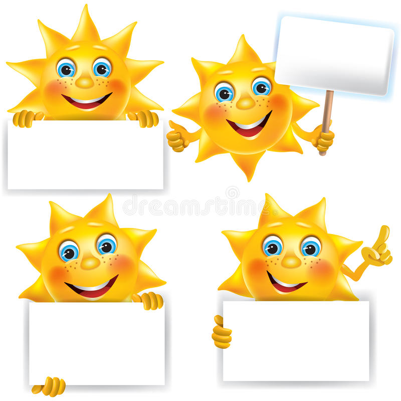 Funny sun with blank banner royalty free illustration