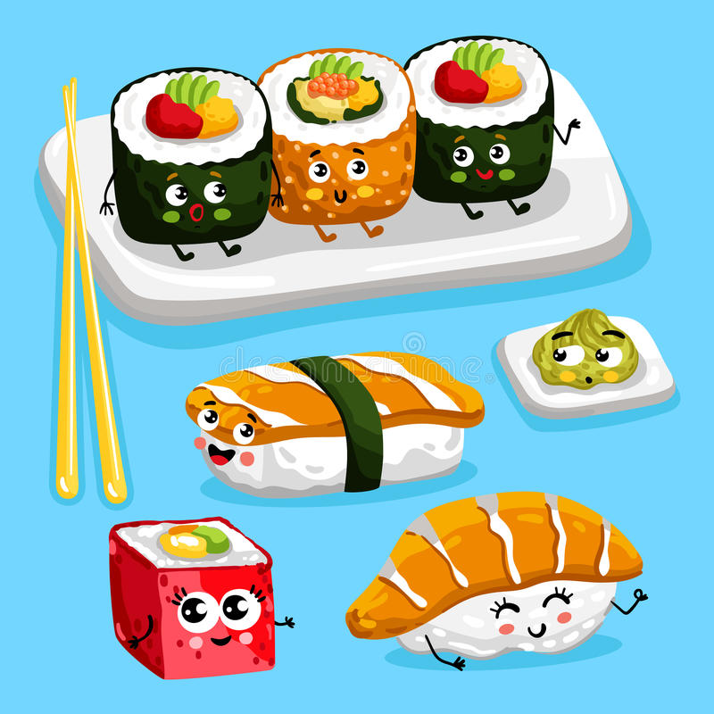 Funny sushi characters cartoon vector stock illustration