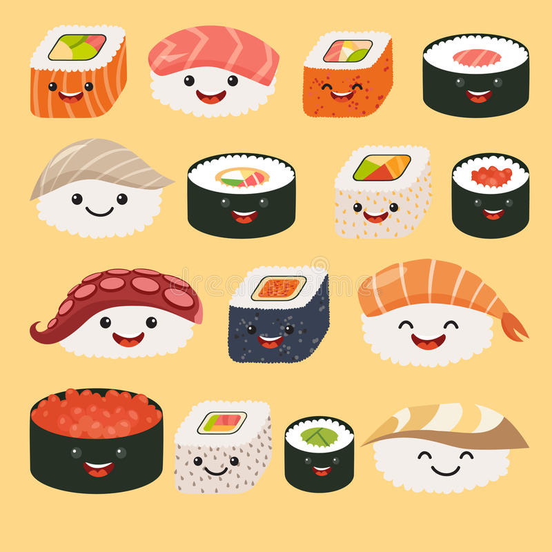 Funny sushi characters. Funny sushi with cute faces. Sushi roll and sashimi set. Happy sushi characters. Sushi roll funny set. Asian food, vector illustration stock illustration