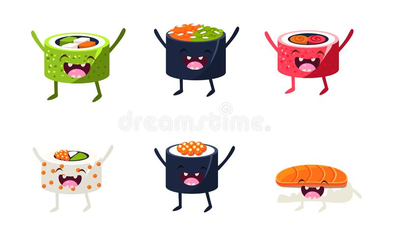 Funny sushi characters set, asian food with cute faces vector Illustration royalty free illustration