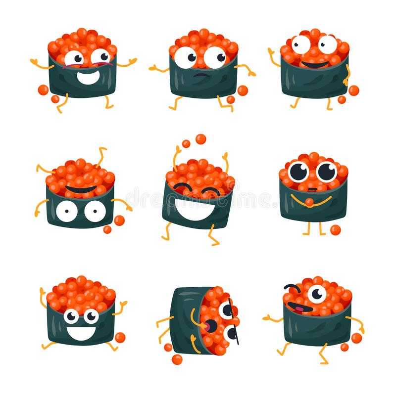 Funny sushi with red caviar - vector isolated cartoon emoticons royalty free illustration