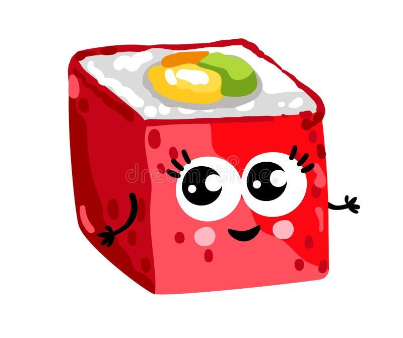 Funny sushi roll cartoon character. Cute sushi roll cartoon character on white background vector illustration. Funny japanese seafood sushi emoticon face icon royalty free illustration