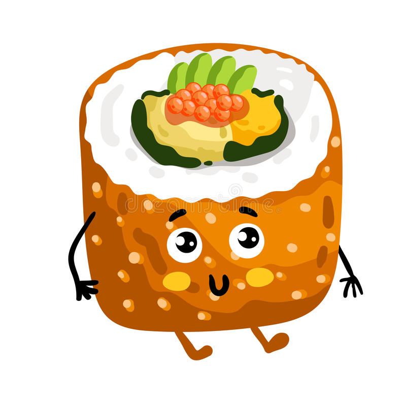 Funny sushi roll isolated cartoon character vector illustration