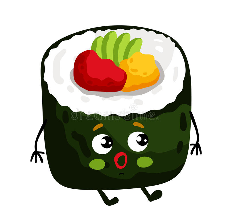 Funny sushi roll isolated cartoon character. Cute sushi roll cartoon character isolated on white background vector illustration. Funny japanese seafood sushi royalty free illustration