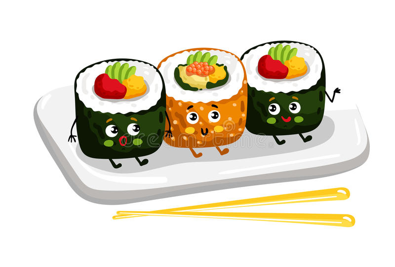 Funny sushi roll set on plate cartoon character stock illustration