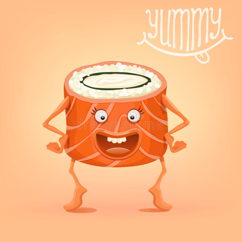 Funny sushi roll smiling character stock illustration