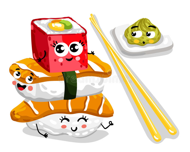 Funny sushi and sashimi set cartoon character stock illustration