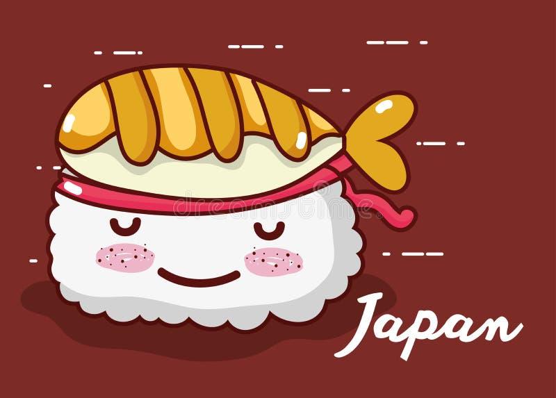 Funny sushi smiling kawaii cartoon stock illustration
