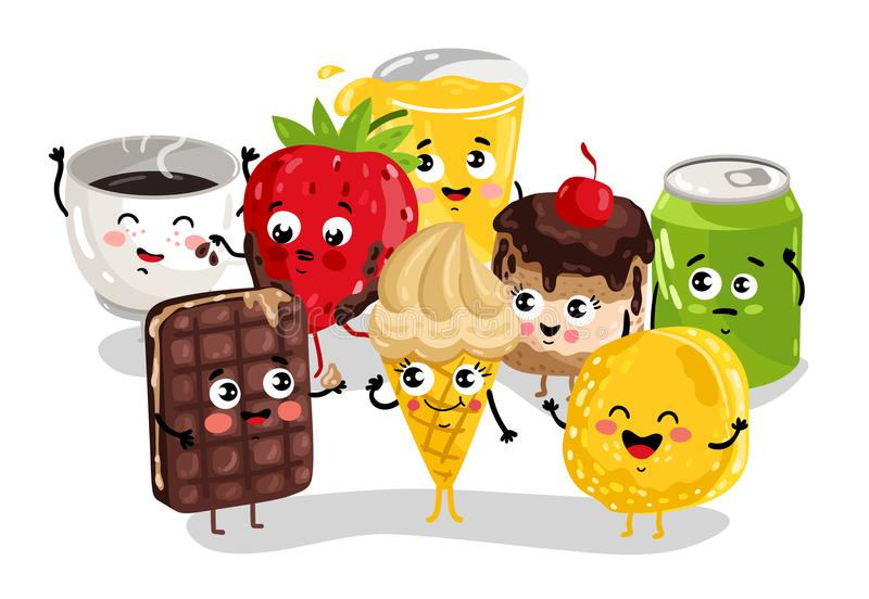 cartoon funny sweet character illustration isolated cute ice cream drink vector grappig divertente dolce reeks zoet caratteri alimento dell voedsel