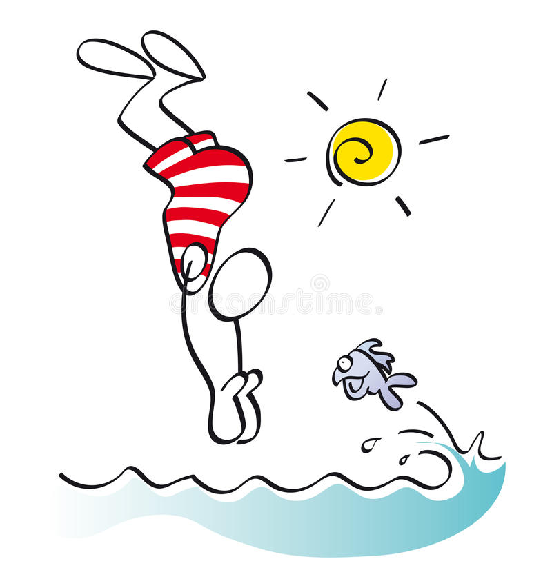Funny Swimmer Stock Image