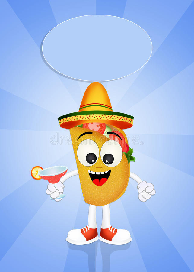 Funny tacos. Illustration of funny tacos with margarita royalty free illustration