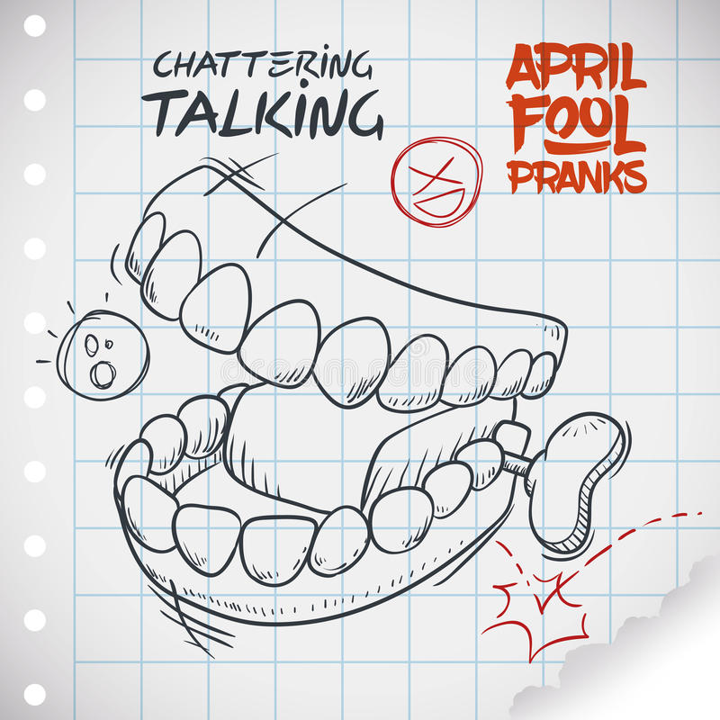 Funny Talking Teeth Toy for April Fools' Day, Vector Illustration. Hilarious chattering talking teeth toy ready for pranks in April Fools' Day draw in doodle stock illustration