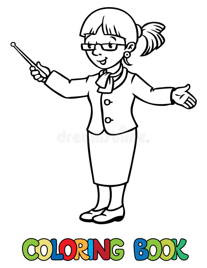 Funny teacher. Coloring book vector illustration
