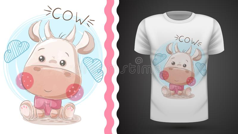 Funny teddy cow - idea for print t-shirt. royalty free illustration