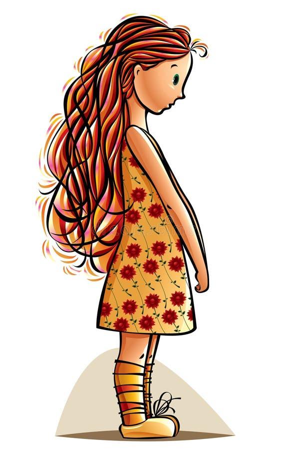 Funny teen girl. Funny little girl. Shy teen illustration royalty free illustration