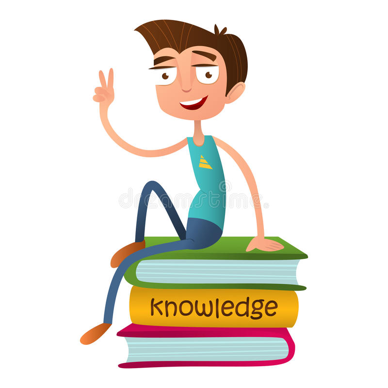 Funny teenage boy sitting on a pile of books and showing two fingers - a sign of Victory. vector illustration