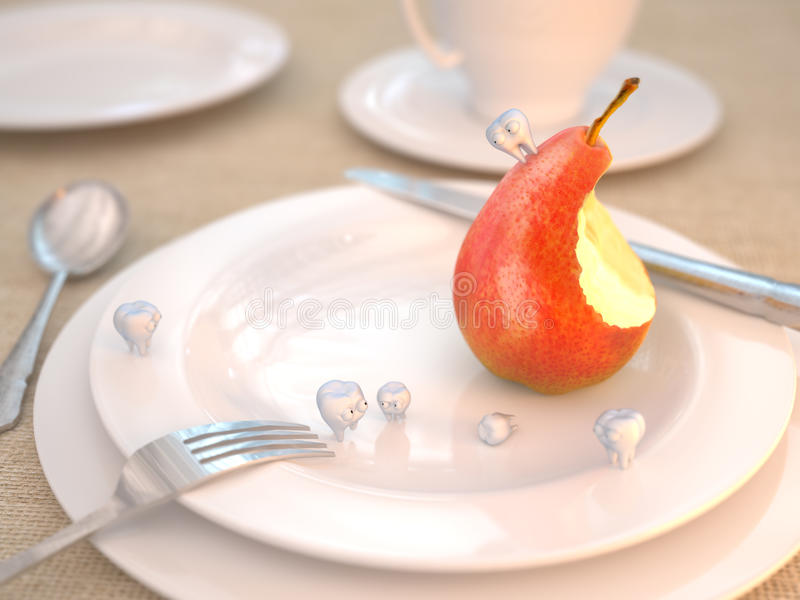 Download Funny Teeth And Bitten Pear Stock Illustration - Image: 19838236
