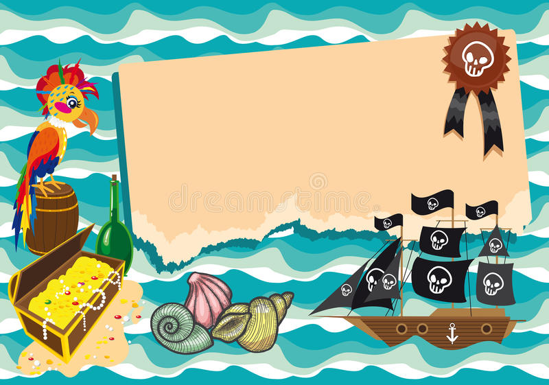 Funny Template On Pirate Theme. Stock Illustration - Illustration of ...