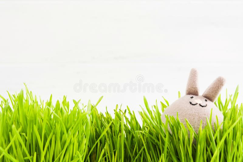 Funny textile grey rabbit in grass on white wooden background royalty free stock images