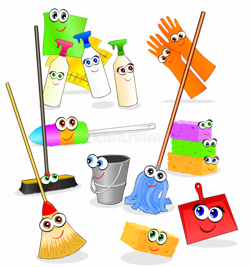 Download Funny Tools And Accessories For Cleaning Stock Vector - Illustration of objects, bucket: 10816257
