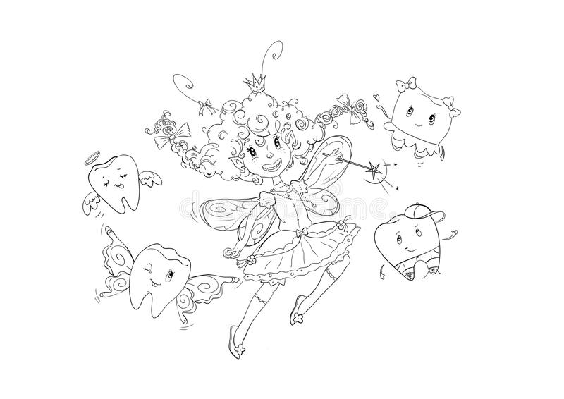 Funny Tooth Fairy Coloring Page Stock Illustration Illustration of