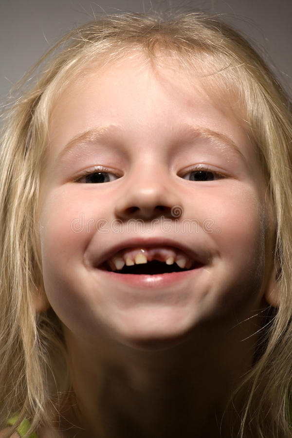 Funny toothless smile stock photography