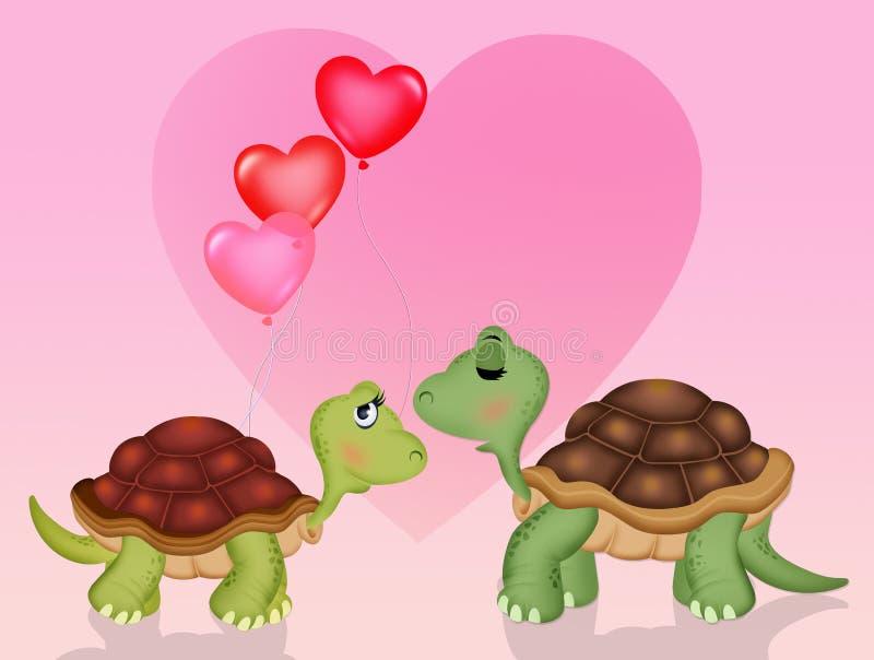 Funny tortoises in love royalty free illustration